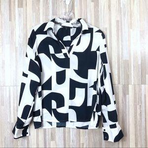 Vero Moda | White Navy Bold Pattern Blouse